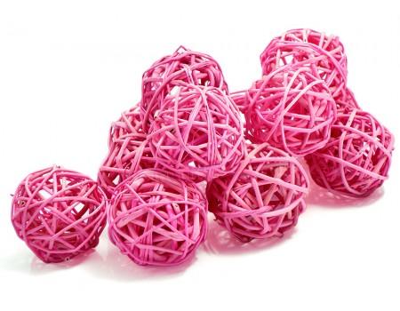 Набор плетеных шаров, диаметр 5 см, 12 шт. Цвет: Ярко-розовый