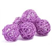 Набор плетеных шаров, диаметр 8 см, 6 шт. Цвет: Сиреневый