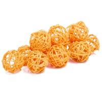 Набор плетеных шаров, диаметр 3 см, 12 шт. Цвет: Оранжевый