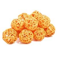 Набор плетеных шаров, диаметр 5 см, 12 шт. Цвет: Оранжевый
