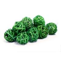 Набор плетеных шаров, диаметр 3 см, 12 шт. Цвет: Зеленый