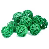 Набор плетеных шаров, диаметр 5 см, 12 шт. Цвет: Зеленый