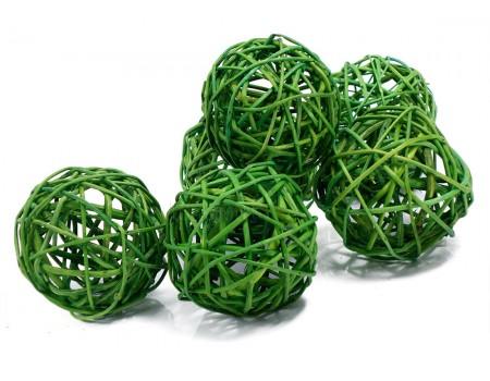 Набор плетеных шаров, диаметр 8 см, 6 шт. Цвет: Зеленый