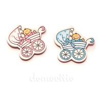 """Наклейка """"Малыш в коляске"""", 4 см. Цвета: Розовый, Голубой"""
