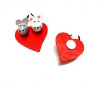 """Декор на стикере """"Мышки на сердце"""", 3,5 см"""