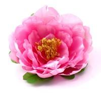 Голова пиона атласная розовая, d11 см