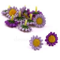 Головки ромашек атласные, d2,5 см. Цвета: Сиреневый, Фиолетовый