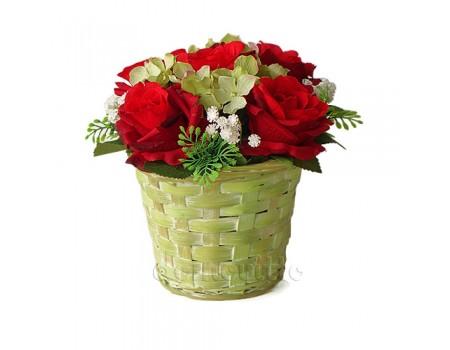 """Букет искусственный """"Розы в салатовом кашпо"""", 18 см"""
