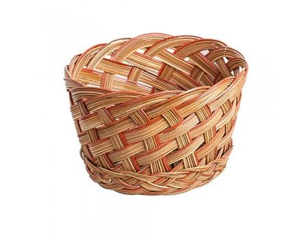 Кашпо плетеное декоративное, d15 см. Цвет: Натуральный с красным