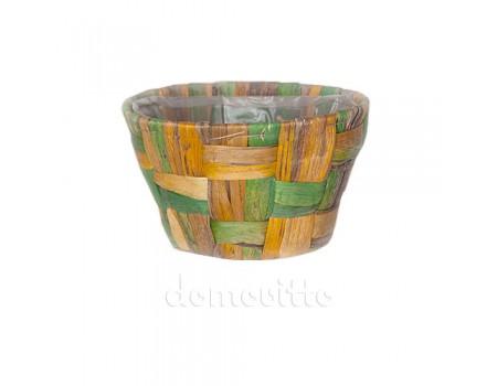 Кашпо плетеное двухцветное круглое, 17 х 10 см