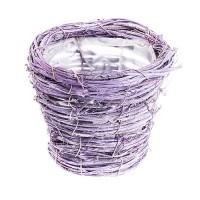 Кашпо плетеное из ротанга, d14хH12 см. Разные цвета
