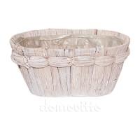 Кашпо из пальмового листа овальное белое, 19,5хH9,5 см