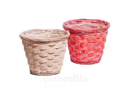 Кашпо плетеное с побелкой, d14x h11 см. Разные цвета