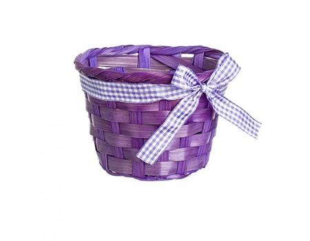 Кашпо плетеное с бантиком фиолетовое, d13 х H9 см