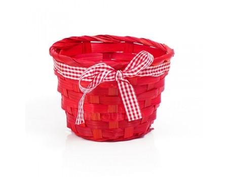 Кашпо плетеное с бантиком красное, d13 х H9 см