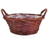 Кашпо плетеное с ручками коричневое, d25 см