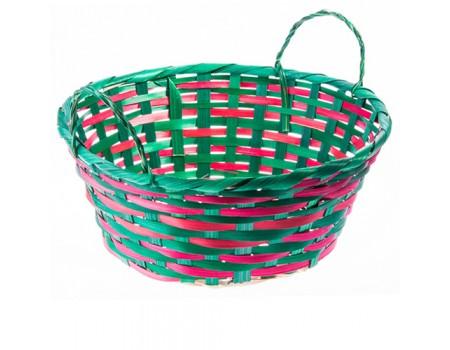 Кашпо плетеное с ручками красно-зеленое, d25 см
