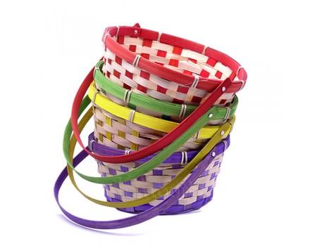 Корзинка плетеная с опускающейся ручкой, d21xH28 см. Разные цвета