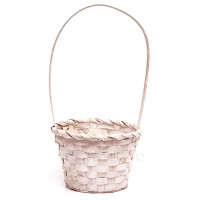 Корзинка плетеная бамбук белая, d15 x H32 см