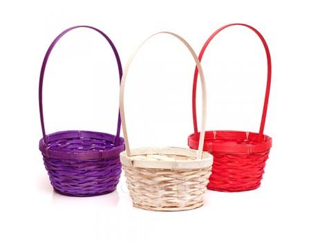 Корзинка плетеная с ободком, d17xH33 см. Разные цвета