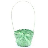 Корзинка с бантиком светло-зеленая, d13 x H31 см