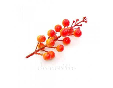 Ягодная веточка искусственная, 12 см. Цвет: Оранжевый