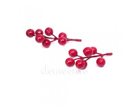 Веточка ягодная искусственная красная, 9 см