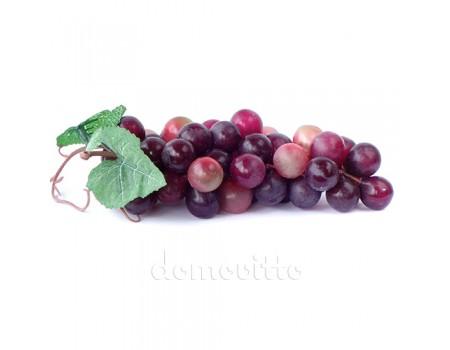 Искусственный виноград с круглыми ягодами, 19 см. Цвет: Бордовый