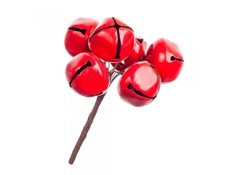 Бубенчики на вставке, d3 см, 6 шт. Цвет: Красный