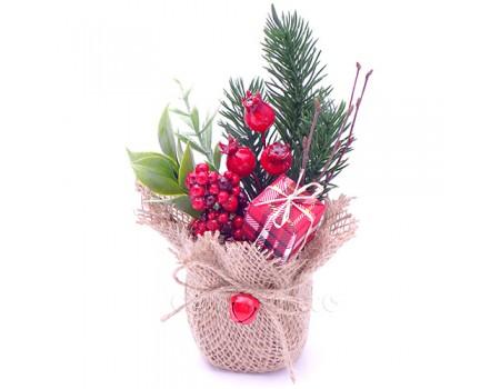 """Новогодний букетик в кашпо """"Красный с ягодами"""", 15 см"""