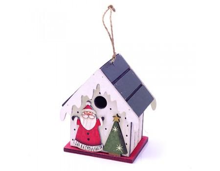 """Домик на подвеске """"Дед Мороз с елочкой"""" дерево, 8х6,5х10 см"""