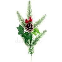 Веточка еловая с шишкой и ягодами боярышника, 30 см