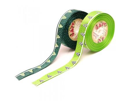 "Лента репсовая ""Елочки"", 25 мм х 1 метр. Цвета: Зеленый, Салатовый"