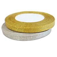 Лента парча, 6 мм х 1 метр. Цвета: Золотой, Серебряный