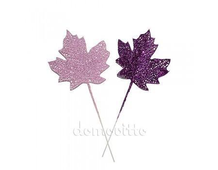 Кленовые листья с блестками. Цвета: Сиреневый, Фиолетовый