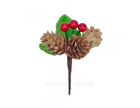 Мини-букетик с тремя шишками и ягодами, 9,5 см