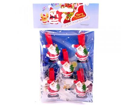 """Набор прищепок 5 см """"Дед Мороз с елкой"""", 5 шт"""