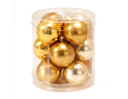 Набор золотых шариков мини, 12 шт. Микс четырех оттенков. Диаметр: 3 см / 4 см