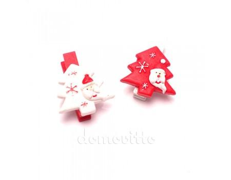 Елка с Дедом Морозом на прищепке красная, 3,5 см
