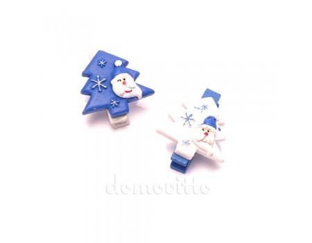 Елка с Дедом Морозом на прищепке синяя, 3,5 см