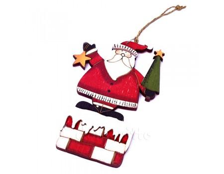 """Подвеска новогодняя большая """"Дед Мороз на крыше"""", 13 см"""