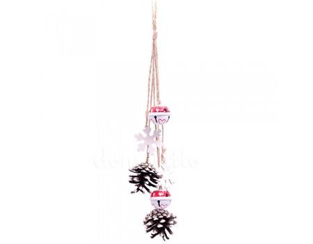 Новогодняя подвеска с шишками. Цвет: Белый