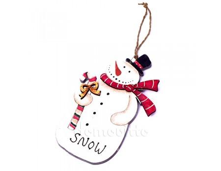 """Подвеска новогодняя большая """"Снеговик в шарфе"""", 13 см"""