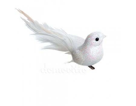 Птичка блестящая на прищепке, 12 см. Цвета: Белый, Красный