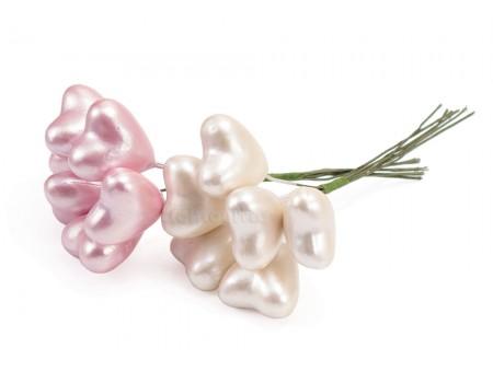 """Букетик на вставке """"Сердечки перламутровые"""", 6 шт. Цвет: Белый, Розовый"""