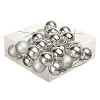 Набор серебряных елочных шариков на проволоке. Диаметр 2 см / 3 см