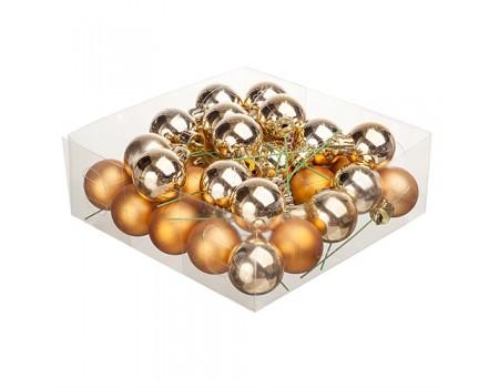 Набор золотых елочных шариков на проволоке. Диаметр 2 см / 3 см