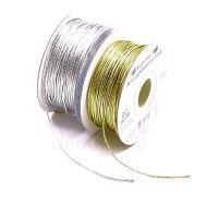 Шнур металлик тонкий, 1 мм х 1 метр. Цвета: Золотой, Серебряный