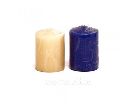 Свеча столбик малая, 4 х 5 см. Цвета: Синий, Кремовый