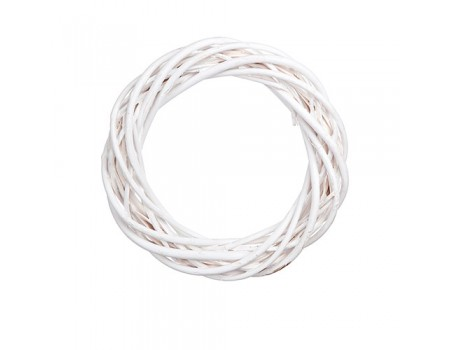 Плетеный венок из ивы, 20 см. Цвет: Белый
